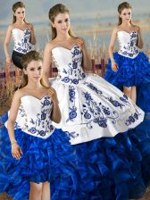 Ball Gowns Sweet 16 Dresses Blue And White Sweetheart Satin and Organza Sleeveless Floor Length Lace Up