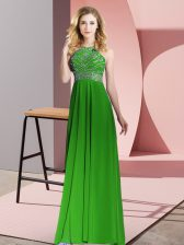 Scoop Sleeveless Chiffon Dress for Prom Beading Backless