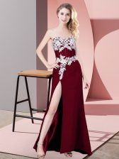 Chiffon Sweetheart Sleeveless Zipper Lace and Appliques Prom Gown in Burgundy