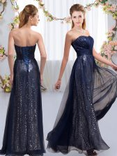 Classical Chiffon and Sequined Sleeveless Floor Length Vestidos de Damas and Sequins
