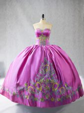 Deluxe Rose Pink Sleeveless Satin Lace Up Vestidos de Quinceanera for Sweet 16 and Quinceanera
