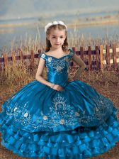 Super Floor Length Blue Pageant Dress for Teens Off The Shoulder Sleeveless Lace Up