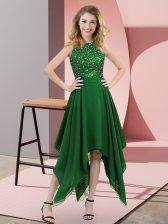 Fitting Empire Prom Evening Gown Dark Green High-neck Chiffon Sleeveless Asymmetrical Zipper