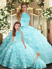Elegant Aqua Blue Halter Top Backless Beading and Ruffled Layers Sweet 16 Dress Sleeveless