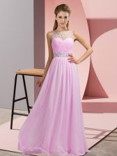 Pink Empire Beading Prom Party Dress Backless Chiffon Sleeveless Floor Length