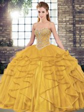 Captivating Sweetheart Sleeveless Sweet 16 Dresses Floor Length Beading and Ruffles Gold Tulle