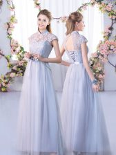 Wonderful Cap Sleeves Lace Lace Up Court Dresses for Sweet 16