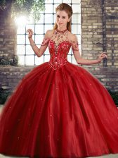 Wine Red Lace Up Ball Gown Prom Dress Beading Sleeveless Brush Train