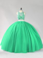 Floor Length Two Pieces Sleeveless Turquoise Quince Ball Gowns Backless