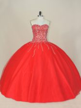 Spectacular Red Lace Up Sweetheart Beading Ball Gown Prom Dress Tulle Sleeveless