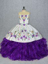 Great Floor Length Ball Gowns Sleeveless White And Purple Quince Ball Gowns Lace Up