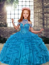 Excellent Ball Gowns Kids Pageant Dress Teal High-neck Tulle Sleeveless Floor Length Lace Up