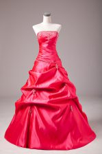 Custom Made Beading and Appliques Quinceanera Gown Hot Pink Lace Up Sleeveless Floor Length