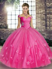 Perfect Off The Shoulder Sleeveless Lace Up Sweet 16 Dresses Hot Pink Tulle