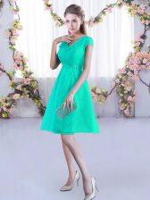 Turquoise Lace Up V-neck Ruching Vestidos de Damas Lace Cap Sleeves