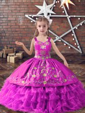 Fashion Lilac Ball Gowns Satin and Organza Straps Sleeveless Embroidery and Ruffled Layers Floor Length Lace Up Girls Pageant Dresses