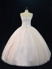 Delicate Floor Length Pink Sweet 16 Dresses V-neck Sleeveless Lace Up