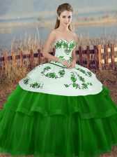 High End Sweetheart Sleeveless Quinceanera Gown Floor Length Embroidery and Bowknot Green Tulle