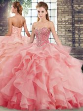 Lace Up Quince Ball Gowns Watermelon Red for Military Ball and Sweet 16 and Quinceanera with Beading and Ruffles Brush Train