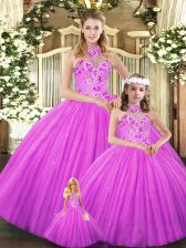 Sleeveless Embroidery Lace Up Quince Ball Gowns