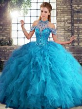 Cheap Halter Top Sleeveless Tulle Quince Ball Gowns Beading and Ruffles Lace Up