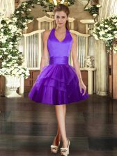 Tulle Halter Top Sleeveless Lace Up Ruffled Layers in Purple