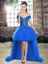 Affordable Sleeveless Lace Up High Low Beading Dress for Prom