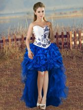 On Sale Blue And White A-line Organza Sweetheart Sleeveless Embroidery High Low Lace Up Homecoming Dress