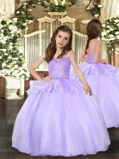 Lavender Sleeveless Floor Length Beading Lace Up Little Girl Pageant Dress