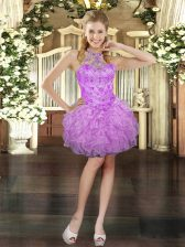 Cheap Organza Sleeveless Mini Length Prom Evening Gown and Beading and Ruffles