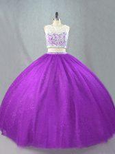 New Arrival Purple Two Pieces Scoop Sleeveless Tulle Floor Length Zipper Beading Vestidos de Quinceanera