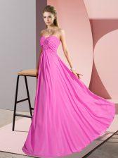 Rose Pink Empire Sweetheart Sleeveless Chiffon Floor Length Lace Up Ruching