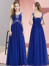 Best Selling Chiffon Sleeveless Floor Length Homecoming Dress and Beading