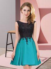 Decent Scoop Sleeveless Satin Dama Dress Lace Zipper