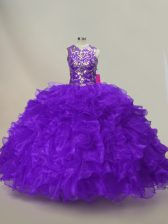 Colorful Purple Sleeveless Ruffles and Sequins Floor Length Quinceanera Dresses