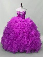 Designer Purple Ball Gowns Sweetheart Sleeveless Organza and Fabric With Rolling Flowers Floor Length Lace Up Sequins Vestidos de Quinceanera