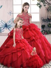 Fantastic Red High-neck Lace Up Beading and Ruffles Ball Gown Prom Dress Sleeveless