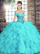 Flirting Aqua Blue Ball Gowns Beading and Ruffles Ball Gown Prom Dress Lace Up Tulle Sleeveless Floor Length