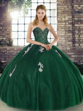 Modest Green Sweetheart Lace Up Beading and Appliques Quince Ball Gowns Sleeveless