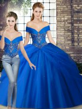 Royal Blue Sleeveless Beading and Pick Ups Lace Up Quinceanera Gowns