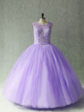 Sophisticated Floor Length Lace Up Sweet 16 Dress Lavender for Sweet 16 and Quinceanera with Beading