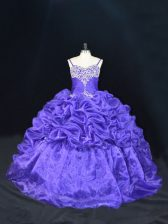 Sleeveless Brush Train Lace Up Beading and Pick Ups Quince Ball Gowns