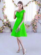 A-line Lace Dama Dress Lace Up Lace Cap Sleeves Mini Length