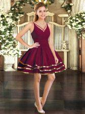 Mini Length Ball Gowns Long Sleeves Burgundy Prom Dresses Backless