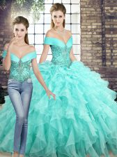 Sleeveless Beading and Ruffles Lace Up Quince Ball Gowns with Aqua Blue Brush Train