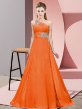 Luxurious Orange Red One Shoulder Lace Up Beading and Ruching Prom Gown Brush Train Sleeveless