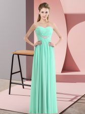 Excellent Chiffon Sweetheart Sleeveless Zipper Beading Evening Dress in Apple Green