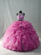 Organza Brush Train Quinceanera Dresses in Pink with Beading and Ruffles