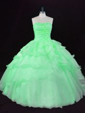 Luxury Ball Gowns Organza Sweetheart Sleeveless Hand Made Flower Floor Length Lace Up Ball Gown Prom Dress