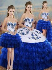 Admirable Royal Blue Sweetheart Neckline Embroidery and Ruffled Layers and Bowknot Sweet 16 Dress Sleeveless Lace Up